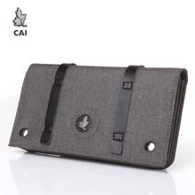 CAI Men Long Wallet Fold Purse Clutch Purse Waterproof Wallets Clip Passport Credit Card Holder Handbag for Male Bag Gift