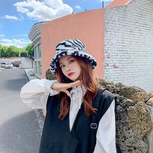 bucket hat lady autumn winter zebra-print hat warm Korean version of the fashion thick hat Japanese versatile tidal basin hat