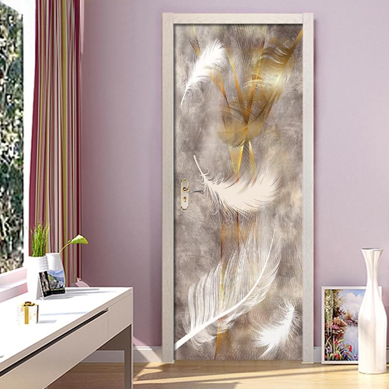 Autoadhesivo renovar la decoración del hogar 3d puerta pegatina con diseño de pluma impresión arte Mural de papel pintado impermeable armario renovación calcomanía imagen