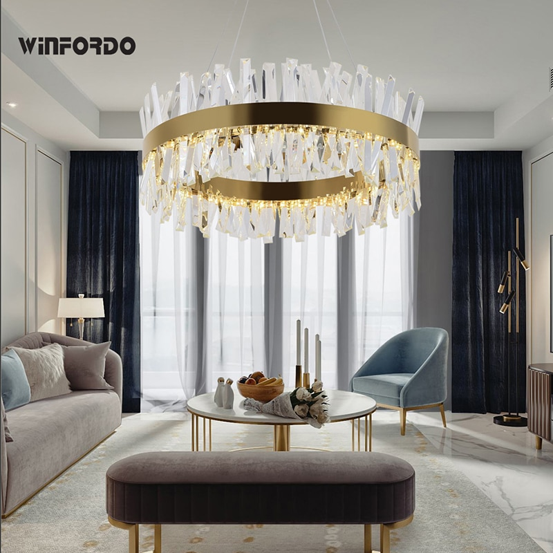 Lámpara LED moderna de cristal para sala de estar moderna iluminación de lujo dorado/acero pulido cromado lámpara para colgar