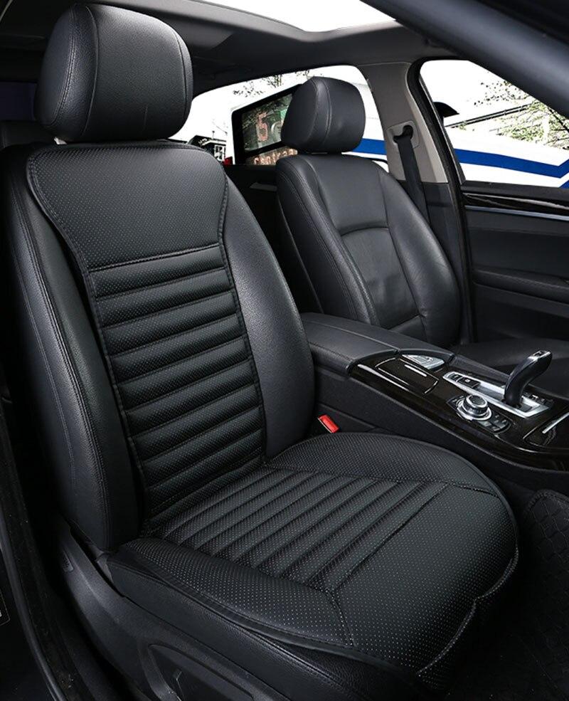 Nuevo estilo 2018, 2 uds. De asientos de coche de cuero de pu, cubierta de asiento de coche no deslizante para auto ford focus 2 bmw e46 peugeot, accesorios de coche