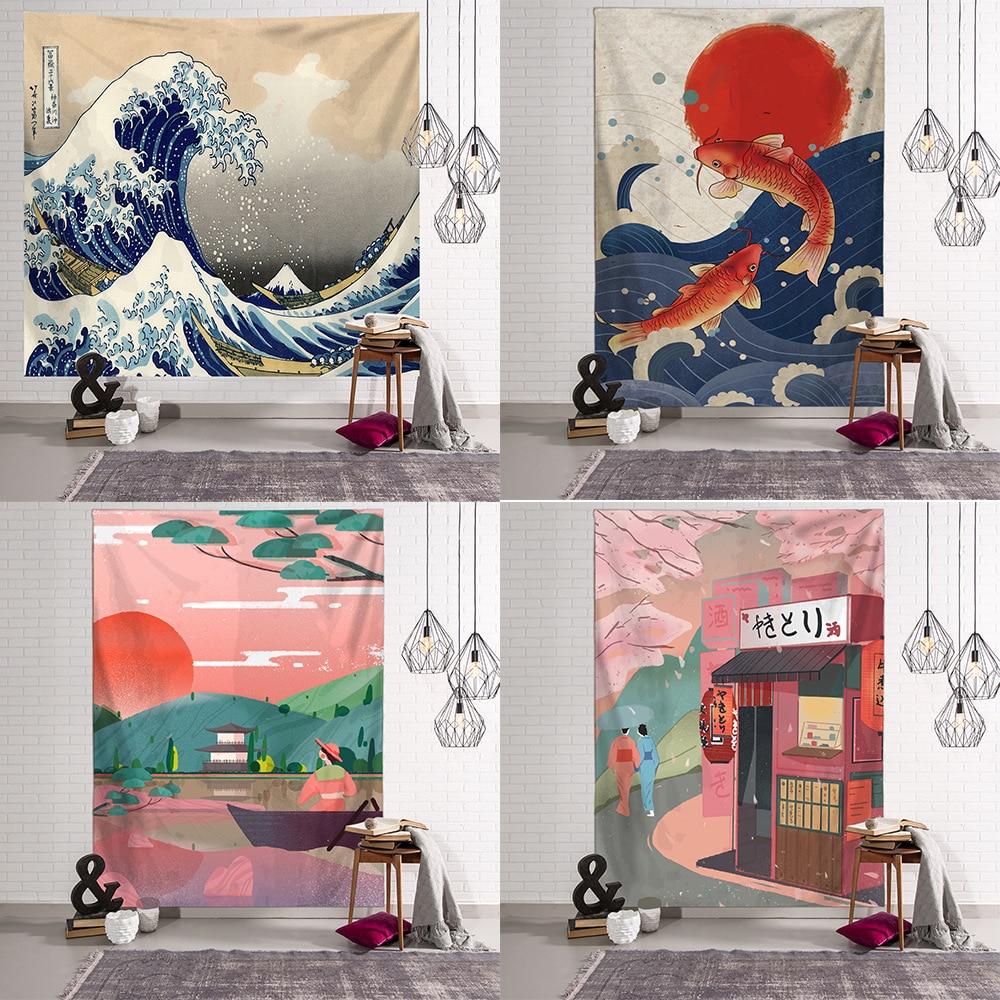 AliExpress - Print Blanket Kanagawa Wave Tapestry Wall Hanging Bohemian Bed Hippie Japanese Illustration Kawaii Bedroom Home Decor