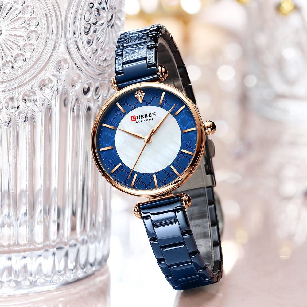 Watches for Women Luxury Brand CURREN Elegant Thin Quartz Wristwatch with Stainless Steel Simple Female Clock