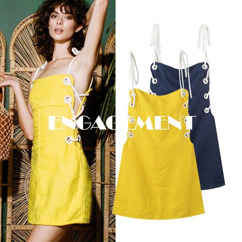 ENGAGEMENT   2021 Dress Summer French Elegant Strap Linen Mini Dress Sexy Strapless Skirt
