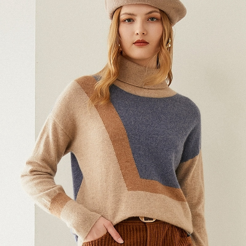 Tailor Shop Custom Made Turtleneck Short Cashmere Sweater Women's Solid Color Fashion Plaid Sweater Knitted Bottoming Shirt enlarge