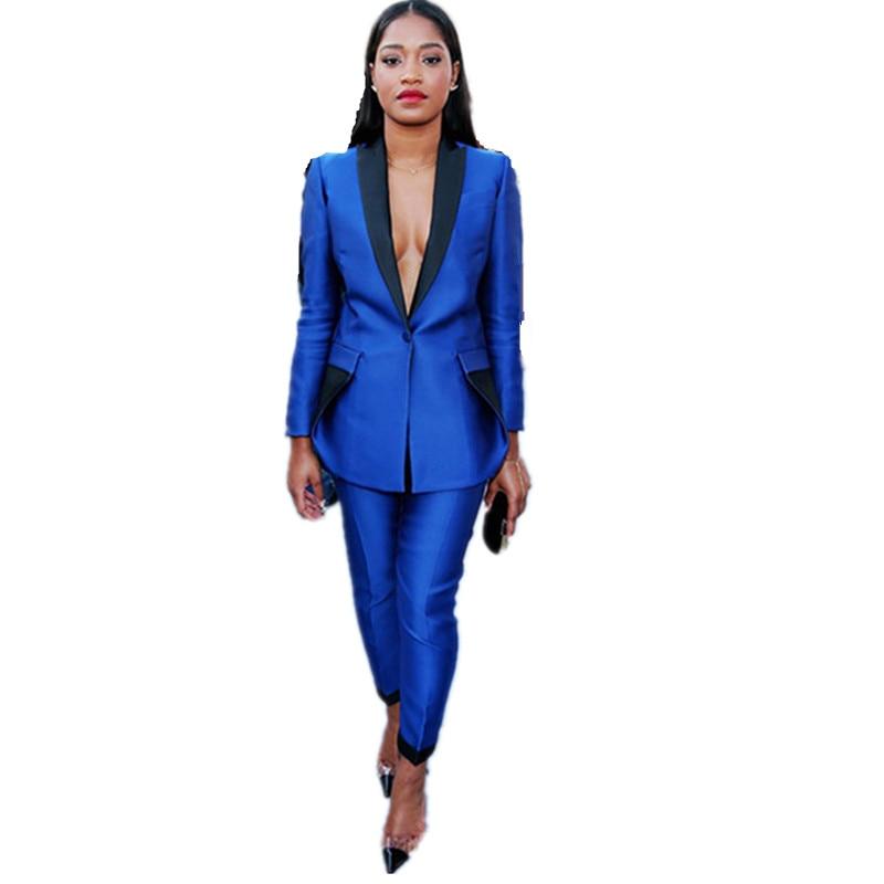 Office Uniform Designs Women Elegant Pant Suit Womens Trouser Suit Formal Suit for Wedding 2 Pcs Set Black Lapel Royal Blue Suit