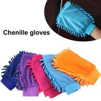1pc convenient chenille glove single sided wear resistant soft random color window washing hand mitt easy to clean for car