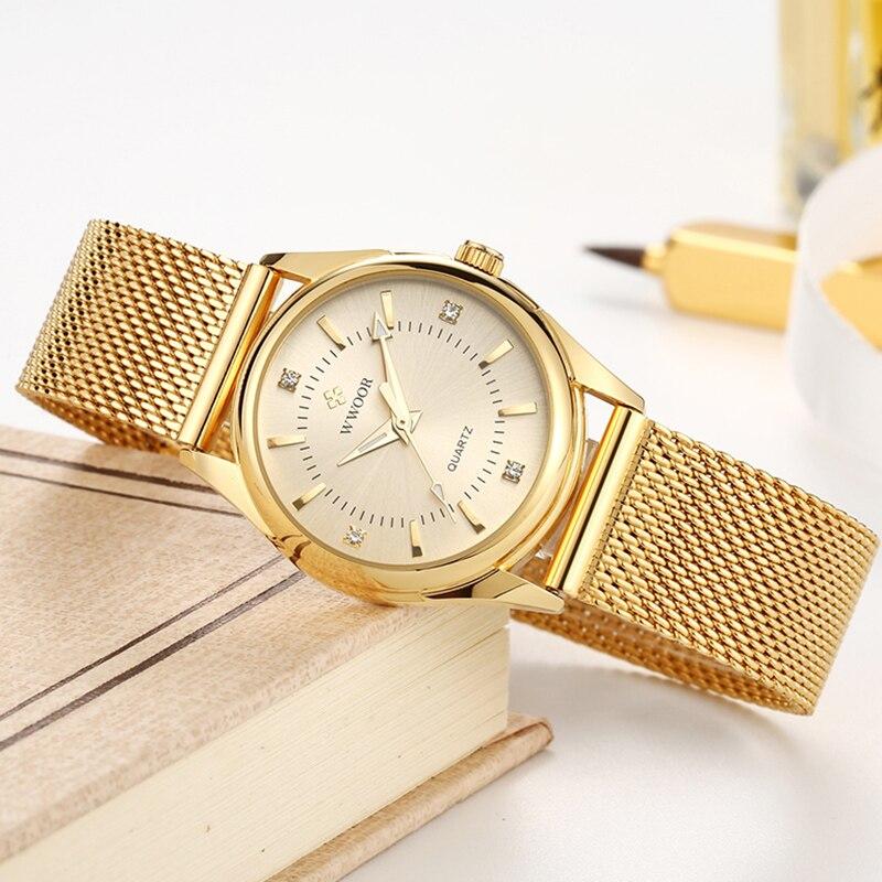 Gold Steel Mesh Belt WWOOR 2021 Women Watch Casual Dress Fashion Quartz Watches Diamond Waterproof Ladies Wristwatch Reloj Mujer enlarge