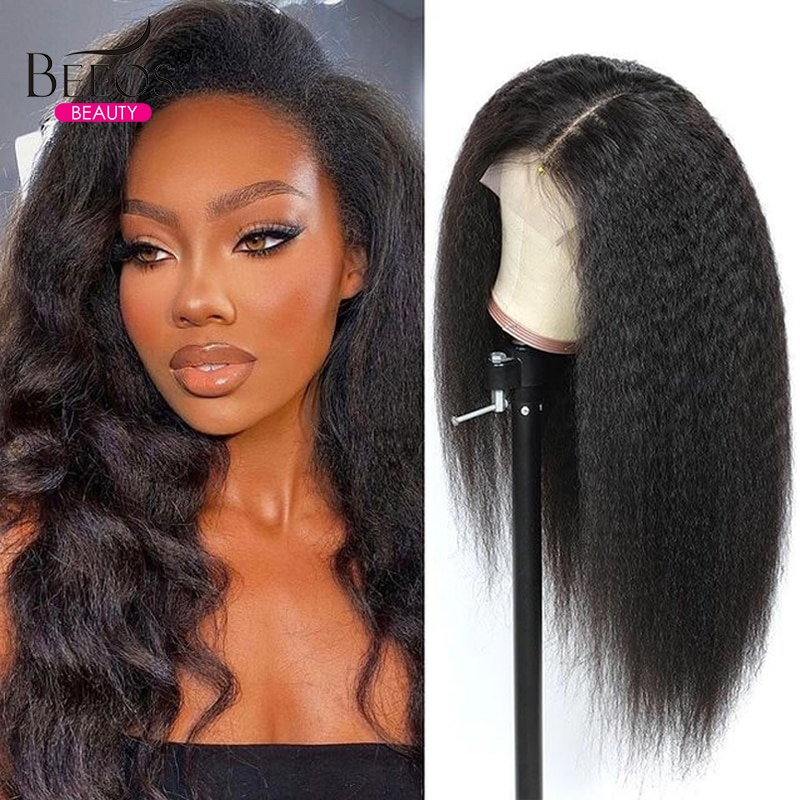 Invisible HD Lace Front Wig Kinky Straight 13x6 Body Wave Human Hair Wigs for Women 250% Fake Scalp