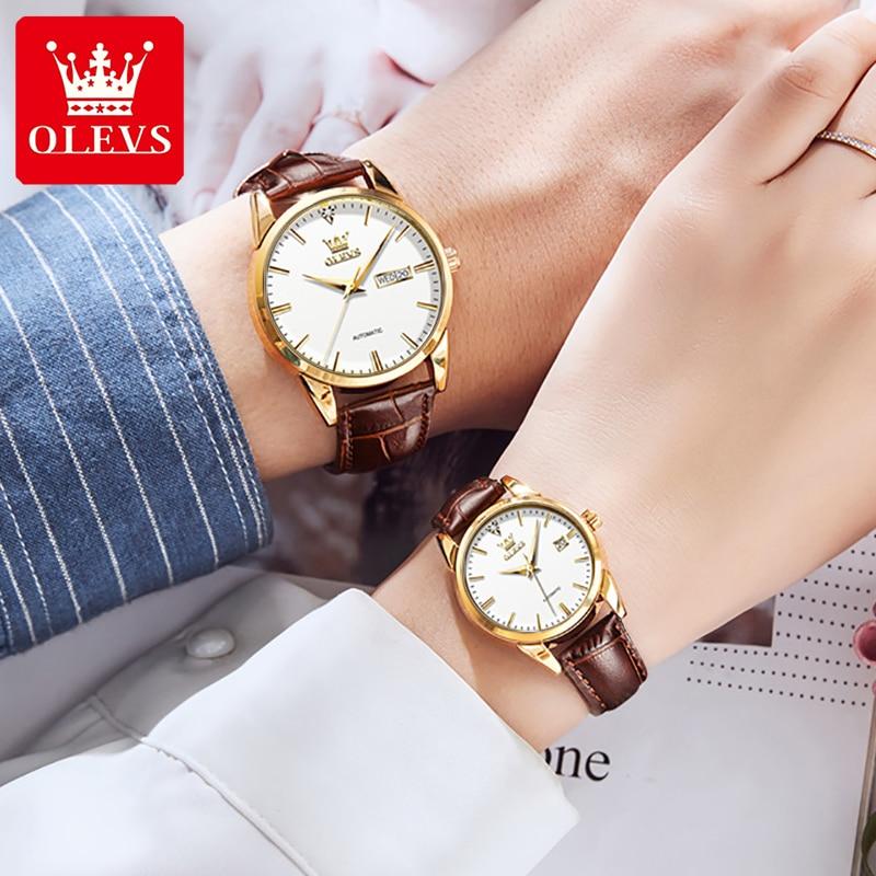 OLEVS Kochanka Zegarki Luxury Couple Watches Pair Men And Women Automatic Mechanical Watch Gift Set
