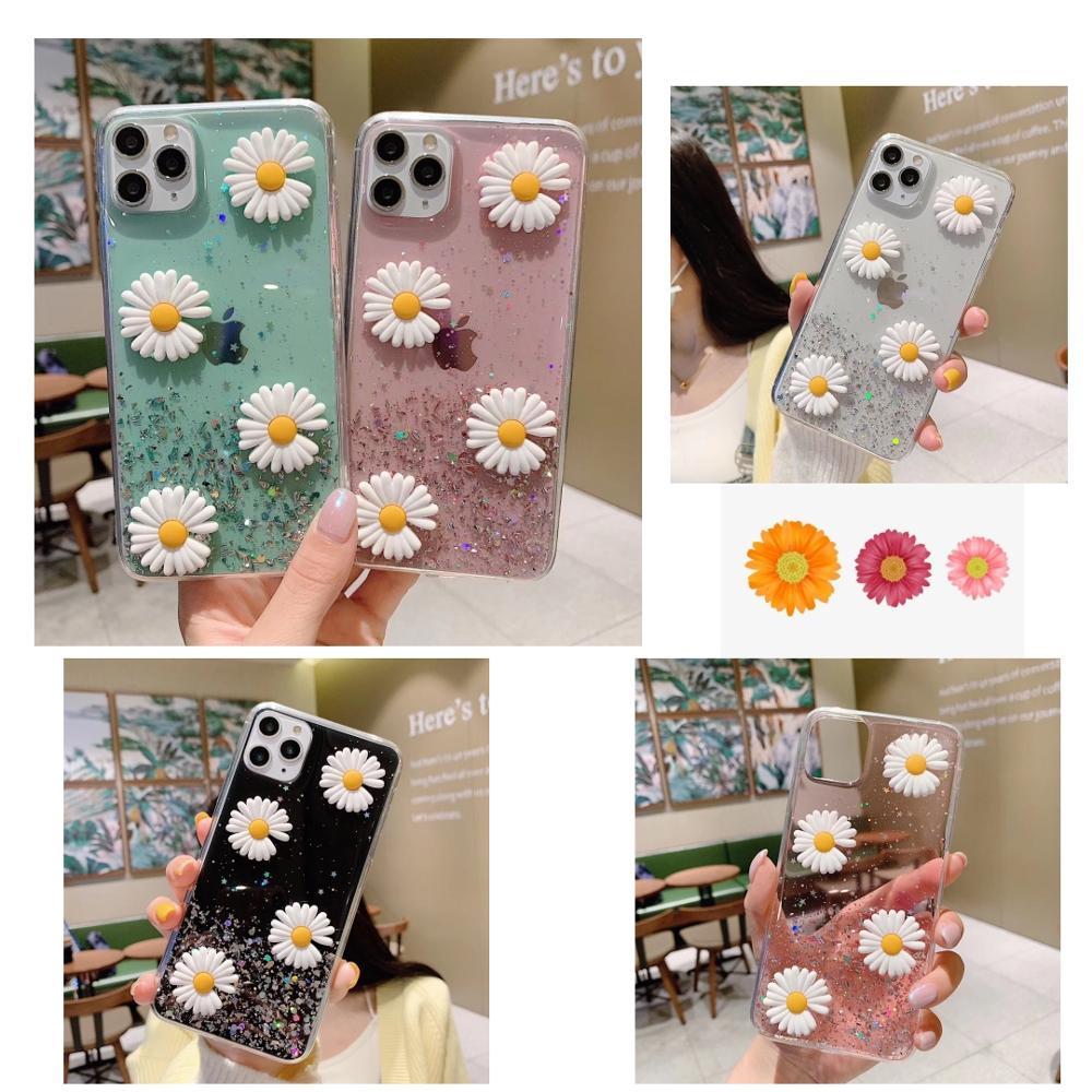 ins Cute 3D Daisy Glitter StarrySky Soft Phone Case For Huawei Nova 2 2i Plus 2S 3 3I 4 4E 5T 5 5I Pro E I 6 SE 7 7SE 7Pro nova5