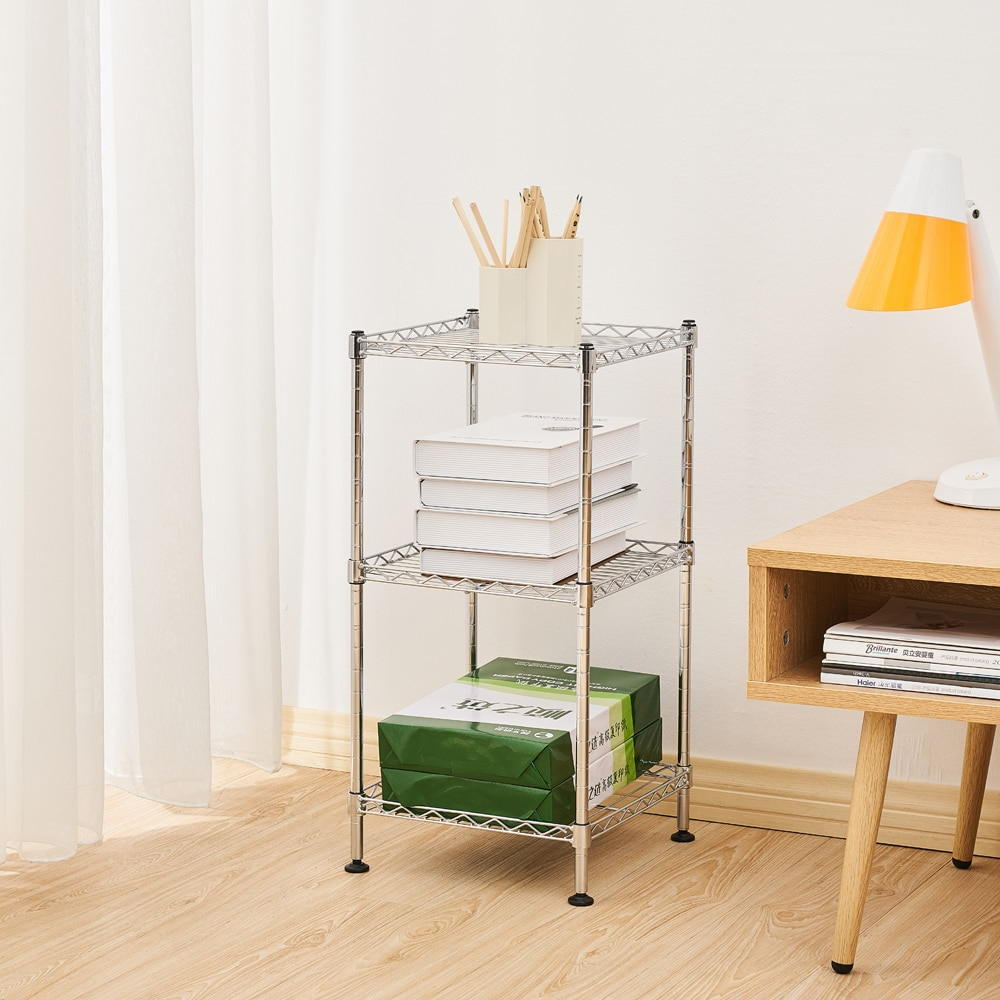 Fashion 3-Tier Steel Wire Shelving Tower Use for Bathroom Closet Bedroom Storage Rack Kitchen Shelf Spice Organizer