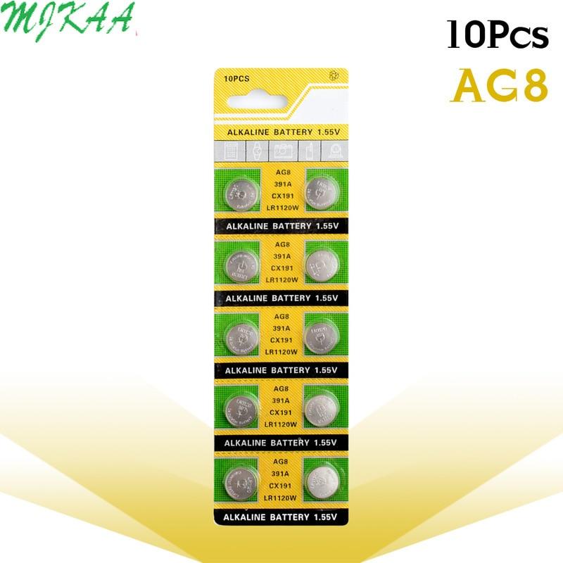 10 sztuk/paczka AG8 LR1120 391 SR1120 baterie guzikowe 191 LR55 komórki monety baterii alkalicznej 1.55V LR1120W CX191 dla zegarek zabawki...