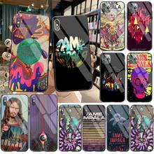 HPCHCJHM psychelic Tame Impala suave negro Funda de teléfono de vidrio templado para iPhone 11 Pro XR XS MAX 8X7 6S 6 Plus SE 2020 funda