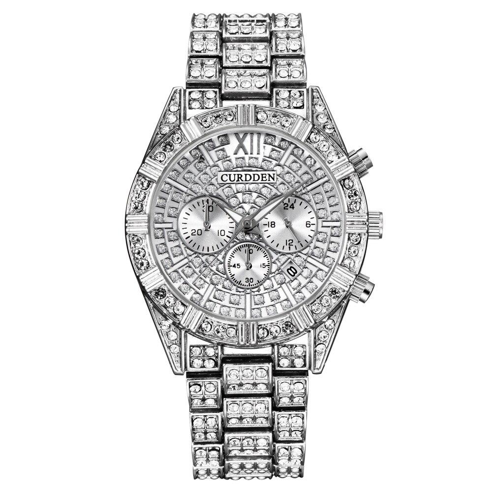 Relojes de negocios para hombre, relojes de pulsera de cuarzo con diamantes de lujo de oro plateado, reloj de pulsera resistente al agua xfcs