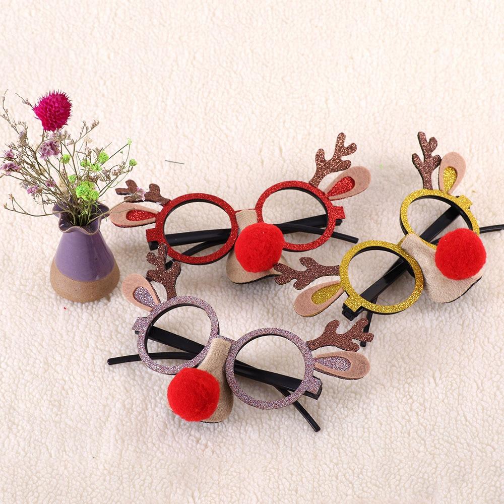 Decoración de Navidad divertido dibujos animados gafas marco Antler gafas nariz roja Cosplay gafas Elk decoración de Navidad regalo para niños