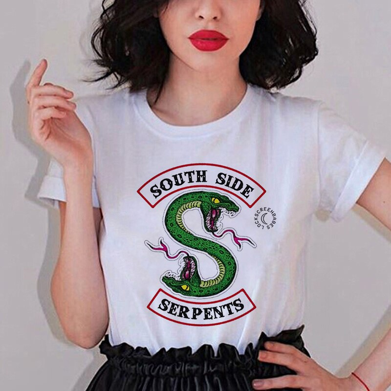 Drôlement Riverdale TV femmes T Shirt sud côté SERPENTS T Shirt femmes Sumemr grande taille o-cou Tee hauts imprimé serpent Homme hauts