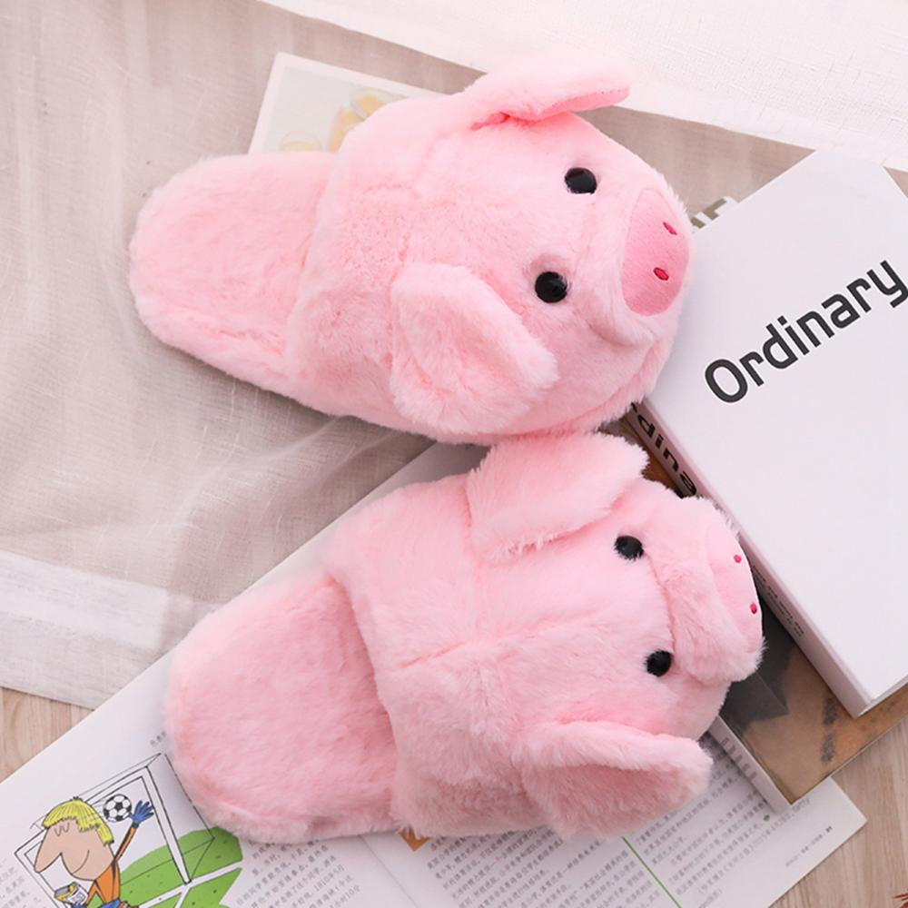 Cute Pink Pig Plush Toys & Indoor Warm Winter Adult Stuffed Cartoon Kawaii Shoes Birthday Present for Girls Valentine Gifts  - buy with discount