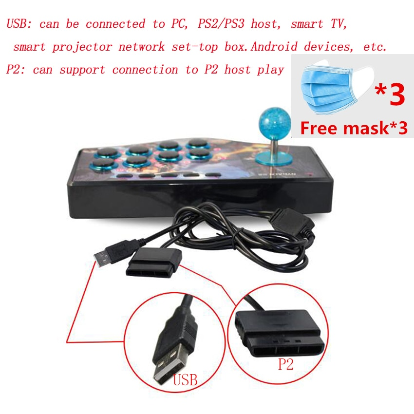 USB Rocker Spiel Controller Arcade Joystick Gamepad Kampf Stick Geeignet forAndroid PS2 PS3 PC (USB) smart TV Freies maske * 3
