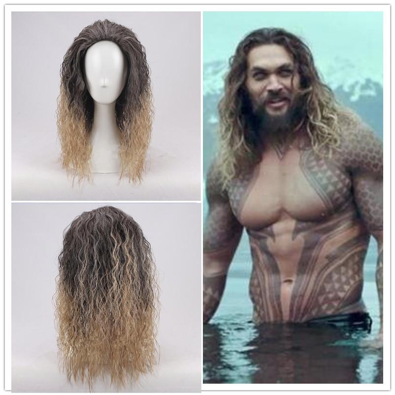 Aquaman-باروكة شعر مستعار صناعي ، Aquaman ، تسريحة بوسيدون ، شعر مستعار كوسبلاي كوسبلاي ، شعر مستعار جايسون مومو ، قبعة شعر مستعار
