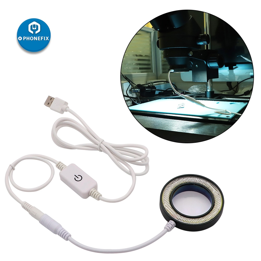 Microscopio PHONEFIX con luz LCD a prueba de polvo, prevención UV, a prueba de humo, cristal de protección, lente de vidrio para reparación de soldadura de placa base