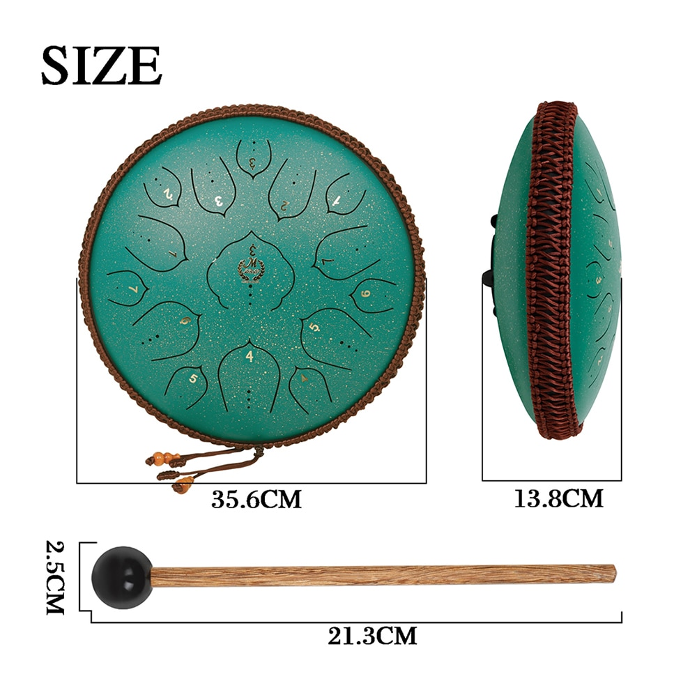 M MBAT 13 Inch 15 Tone Steel Tongue Drum Ethereal Hand Pan Tank Drum Green Percussion Instrument With Carrying Bag Drumsticks enlarge