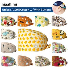 Unisex Pet Grooming Doctor Hats with Buttons Printing Medical Cap Health Services Nursing Cap Nurse