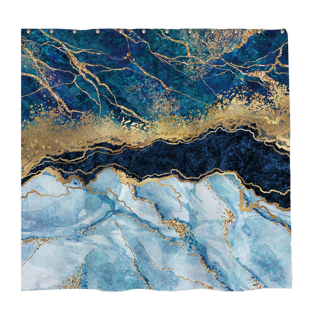 72x72 inch Marble Shower Curtain Navy Blue Mixed Golden Cracked Lines Pattern Texture Bathroom Curtain Durable Waterproof Fabric