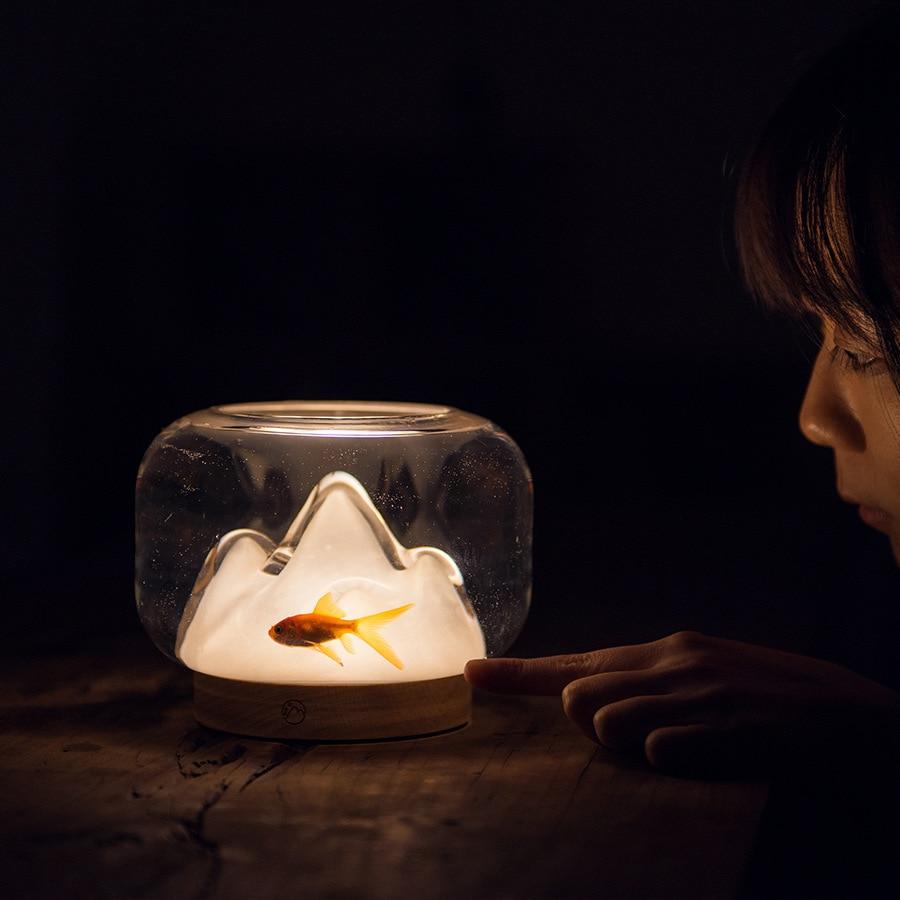2021 Warm Mountain Desktop Night Light Small Warm Light Creative Handmade Glass Warm Mountain Light Art Fish Tank Design Light enlarge