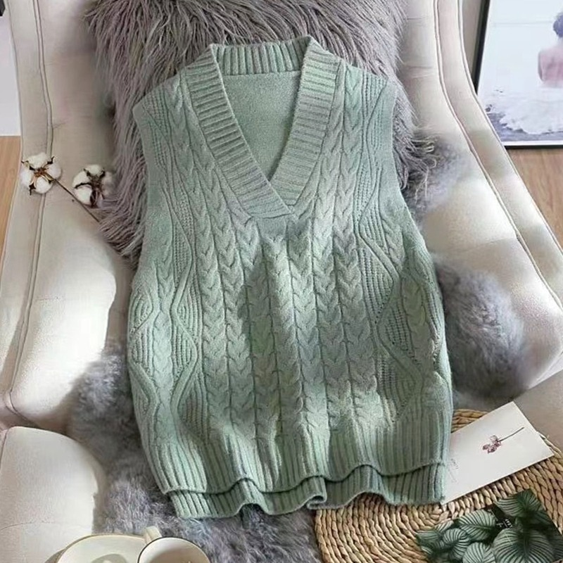 New Vest Women Solid Short Loose Trendy Korean Style Sleeveless Knitted V-Neck All-match Female Coats Simple Leisure Outwear