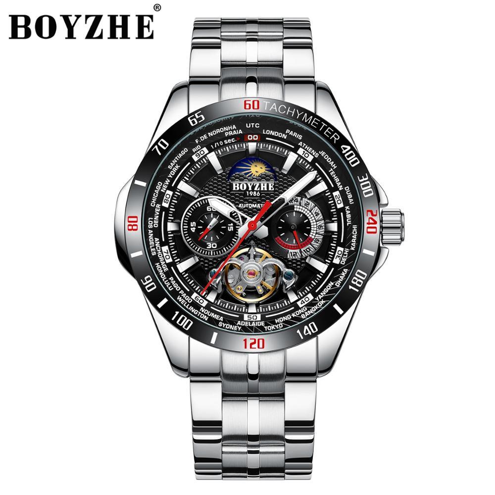 BOYZHE-ساعة رياضية ميكانيكية للرجال ، ساعة يد رجالية ، مقاومة للماء ، توربيون ، مراحل القمر ، مقاومة للماء
