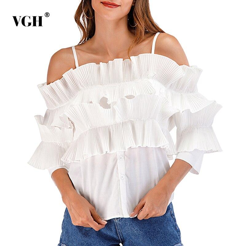 VGH عادية الأبيض قمصان مكشكشة للنساء ساحة طوق ثلاثة أرباع كم Ruched سليم الكورية الصلبة البلوزات الإناث 2021 موضة