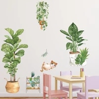 nordic green plant potted wall stickers bedroom kids rooms wall decor mural cute cat vinyl wall decals pvc home decor posters