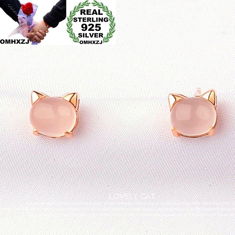 OMHXZJ оптовая продажа, Европейская мода, женские вечерние серьги-гвоздики из стерлингового серебра 925 пробы с овальным розовым кварцем, подар...