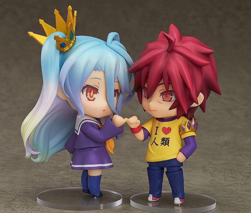 Anime nenhum jogo sem vida nendoroid sora 652 & shiro 653 pvc figura de ação collectible modelo brinquedos 10cm