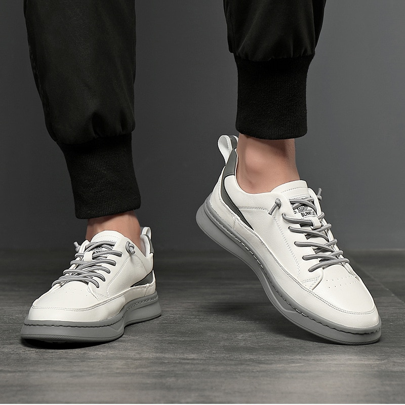 Мужская обувь, новинка 2021, модная обувь, мужская Белая обувь, мужские кожаные дышащие кожаные туфли, повседневная мужская обувь, мужская обу...