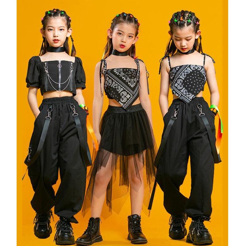 الاطفال فاسق الهيب هوب الملابس مربع الرقبة نفخة كم المحاصيل تي شيرت مطوي شبكة تنورة بانت للفتيات ملابس رقص الجاز مجموعة الملابس