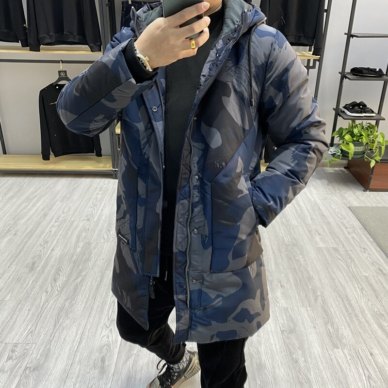 New Fashion 2021 Men's Winter Duck Down Coat & Jacket Camouflage Printed Male Long Parkas Outerwear Plus Oversized 3XL XXXL