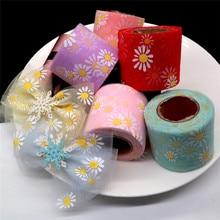 6cm 25yard Daisy Flower Tulle Roll for DIY Handmade Craft Hair Ornament Baking Decoration Sunflower Printed Mesh Fabric Supplies