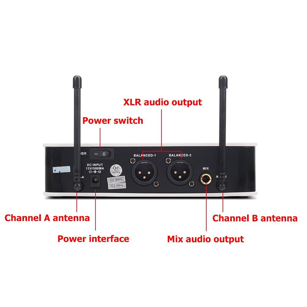 EYK E3002 Professional UHF Karaoke Wireless Microphone System Long Range Dual Metal Handheld Mic Transmitter with MUTE Function enlarge