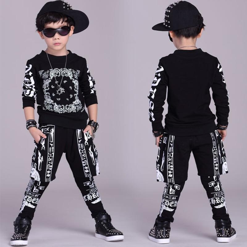 أزياء الهيب هوب للأولاد ، توب مطبوع عصري ، بنطلون بأكمام طويلة ، ملابس رقص في الشوارع ، ملابس عرض عصرية للأطفال ، DNV12564