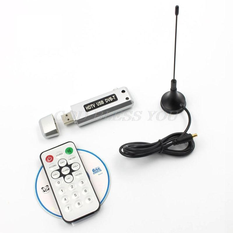 1pc USB 2,0 DVB-T Digital TV receptor HDTV sintonizador Dongle Stick antena remoto IR