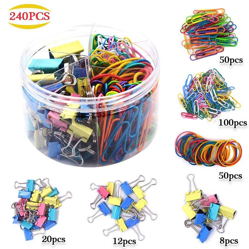 Assorted Clamps Long Tail Clip Dovetail Clip Paper Clip Binder Rubber Band Ticket Holder Combination Office EIG88
