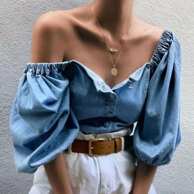 Moda 2020, blusas para mujer de manga abombada con hombros descubiertos, blusas de tela vaquera Rerto, blusas informales holgadas de verano para mujer, camisas Vintage, blusas de talla grande