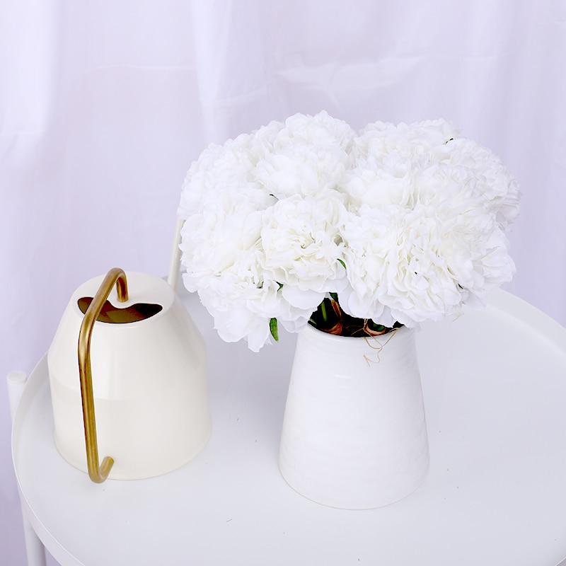 Искусственные Шелковые пионы 5 шт., белые свадебные домашние Декоративный букет, красивые осенние сцены, композиция пионов, недорогие искус...
