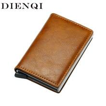 DIENQIคุณภาพสูงกระเป๋าสตางค์เงินกระเป๋ามินิกระเป๋าสตางค์ชายVintageสีน้ำตาลหนังRfidกระเป๋าสตางค์สม...