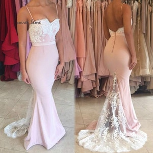 Eleagnt Pink Mermaid Prom Dresses Spaghetti Straps Sexy Backless Lace Evening Formal Dress 2020 Cheap Plus Size Women Party Gown
