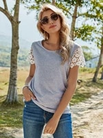 2021 spring new t shirt women casual o neck lace short sleeve pullover top female solid color summer t shirt for women gray