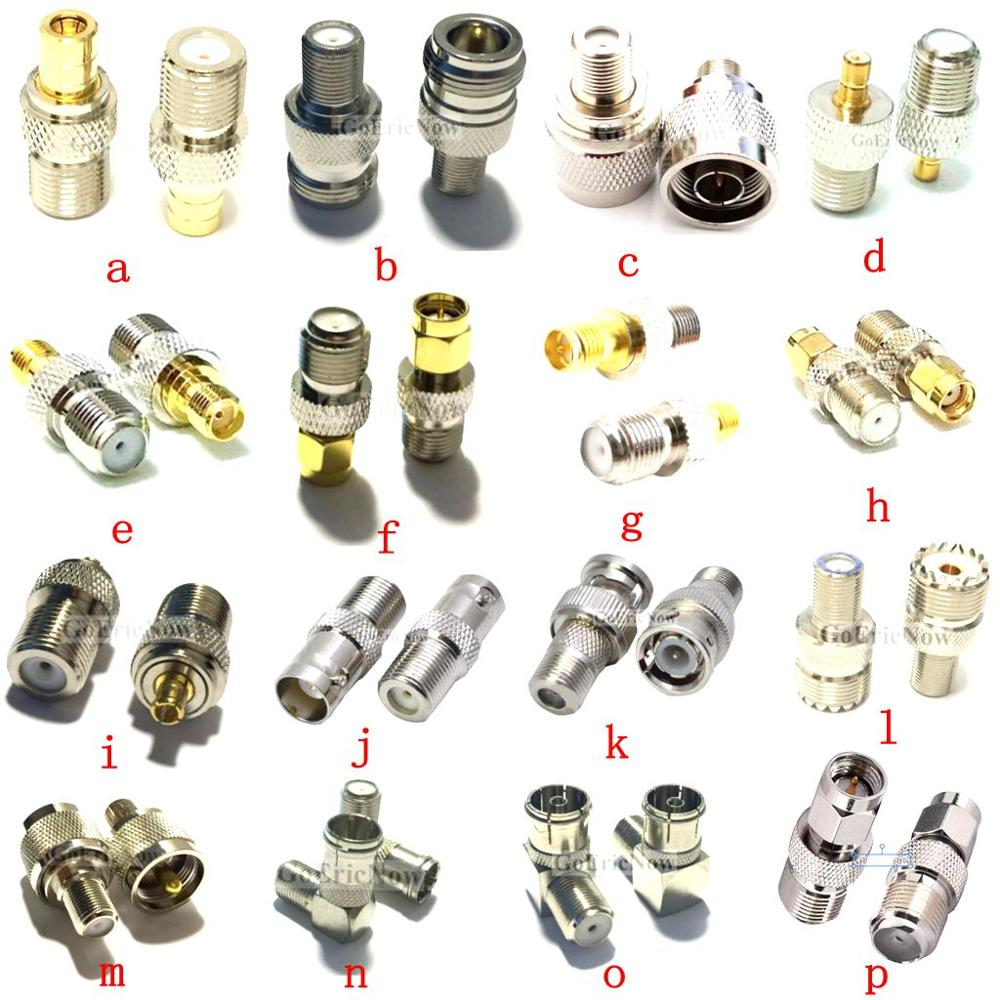 1 pces rf coaxial coaxial adaptador f fêmea para uhf/bnc/n/smb/sma/mcx macho/fêmea conector adaptador