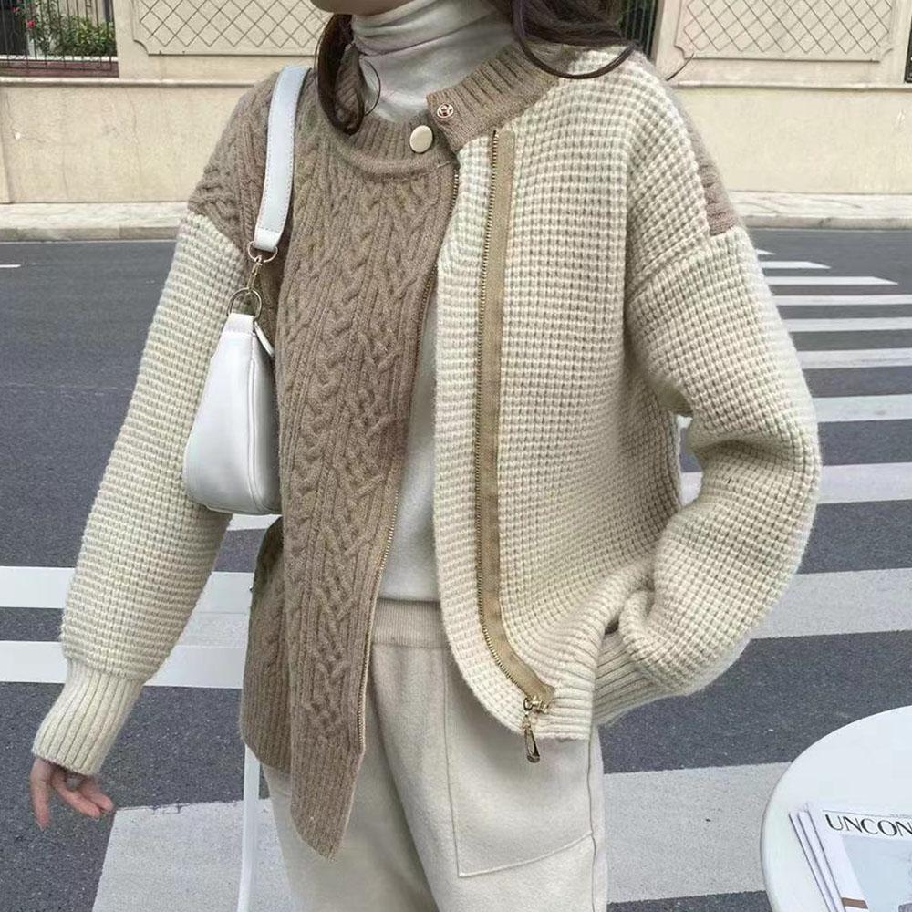 Свитер женский на весну и осень, новинка 2021, пуловер, модный кардиган на молнии, пальто, женская уличная одежда, повседневная трендовая женск...